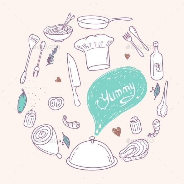 Round Illustration With Stylized Food, Hand
