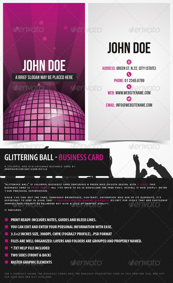Glittering Disco Ball – Colorful Business Card - Creative Business Cards