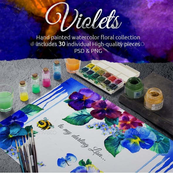 Watercolor Handmade Violet Flower Set