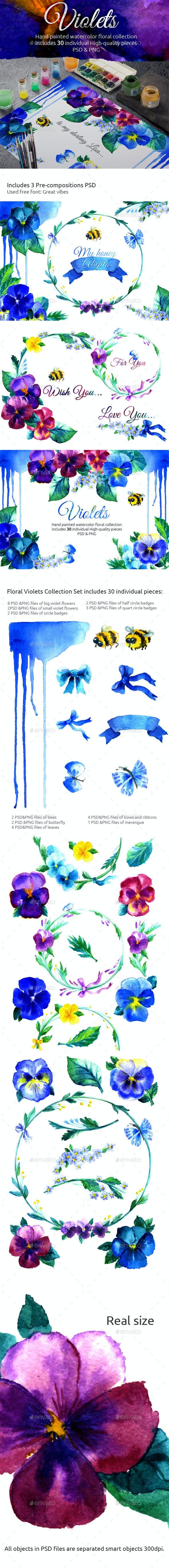 Watercolor Handmade Violet Flower Set - Flourishes / Swirls Decorative