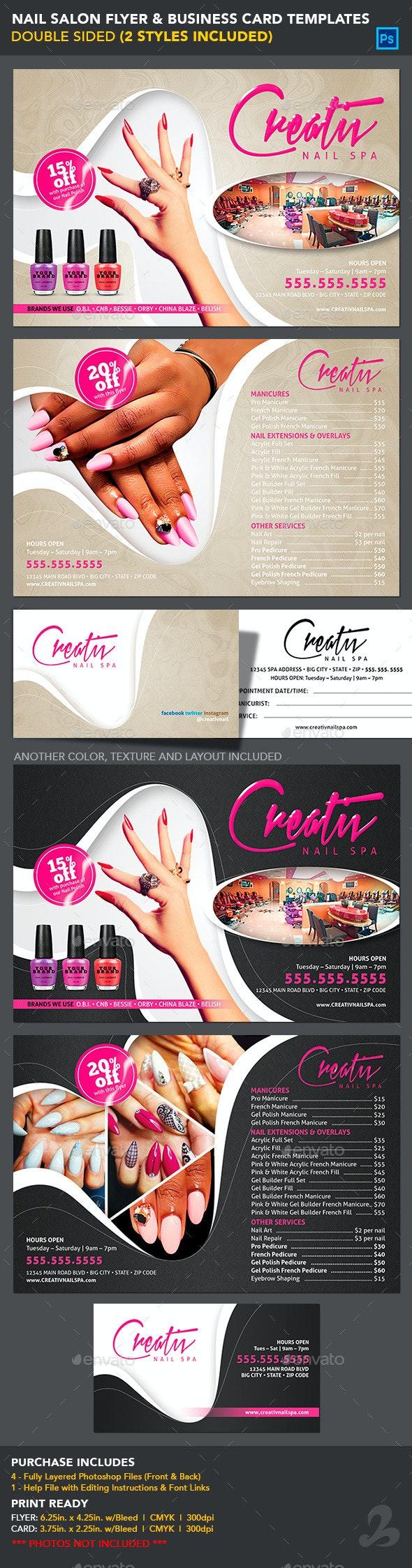 Nail Salon Flyer & Business Card Templates - Commerce Flyers