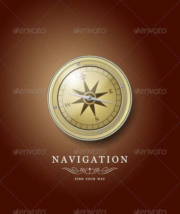 Compass illustration - Man-made Objects Objects