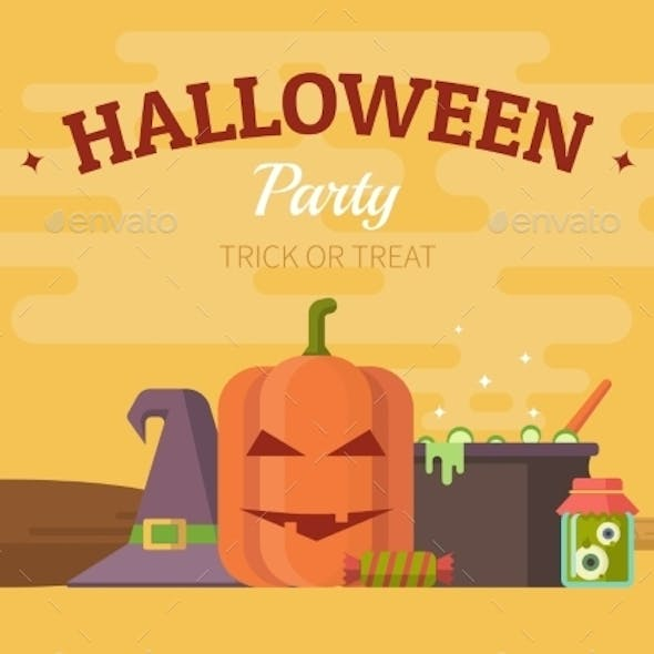 Halloween Party Poster, Banner Or Background.