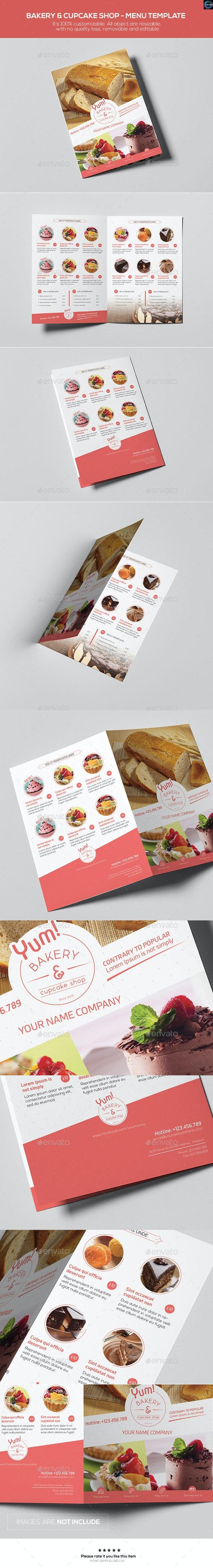 Bakery & Cupcake Shop - Menu Template - Food Menus Print Templates