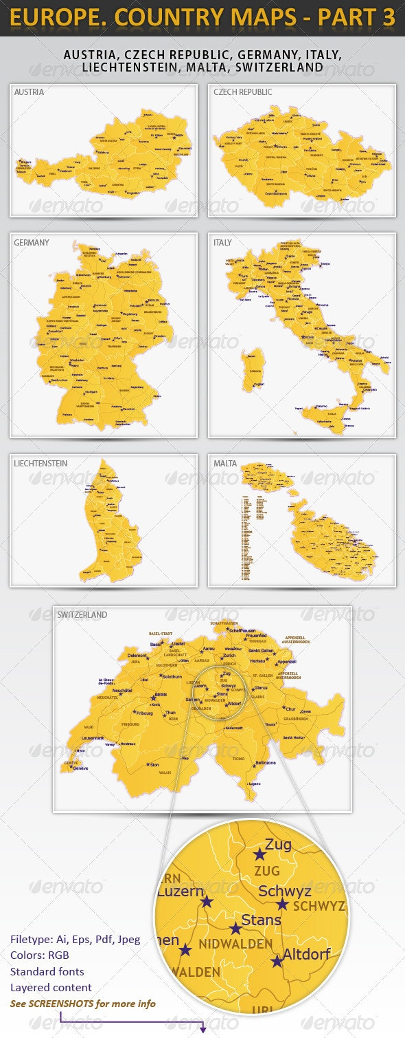 Europe. Country maps - part 3 - Miscellaneous Vectors