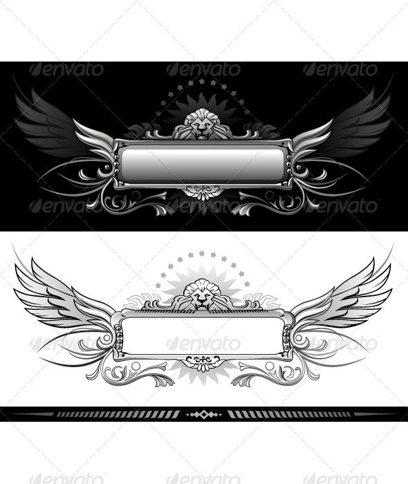 Winged banner with lion head - Borders Decorative