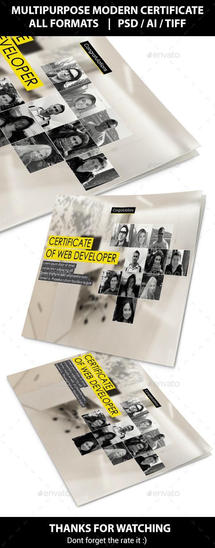 Multipurpose Modern Certificate - Certificates Stationery