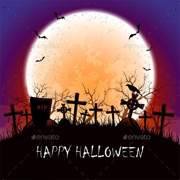 Halloween Moon at the Cemetery - Halloween Seasons/Holidays