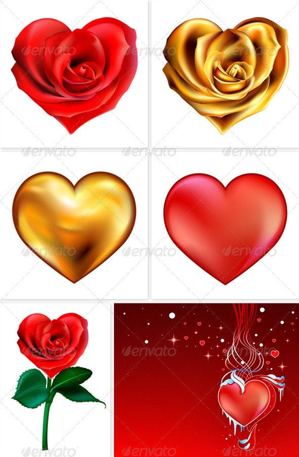 Valentine hearts (6 images) - Valentines Seasons/Holidays