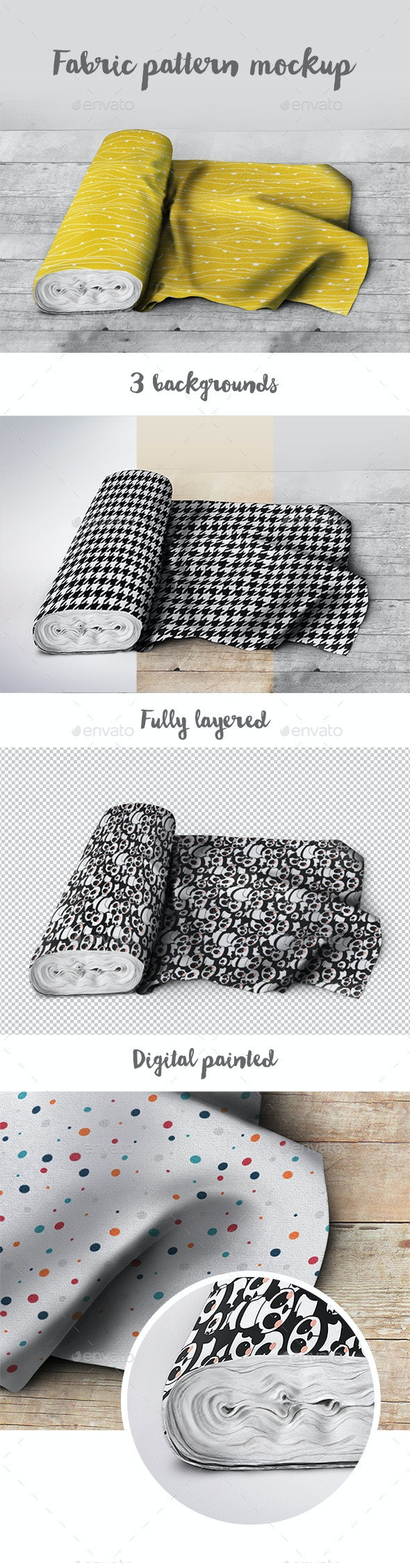 Fabric Pattern Mockup - Product Mock-Ups Graphics