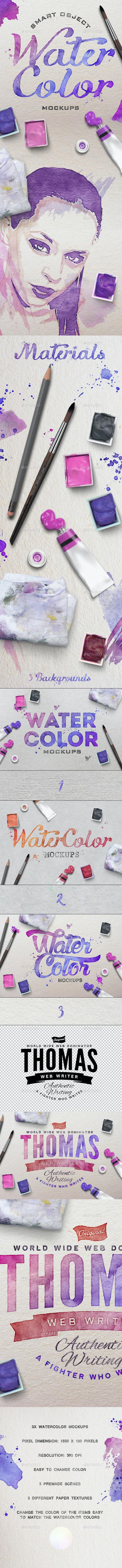 Watercolor Scene Mockups - Hero Images Graphics