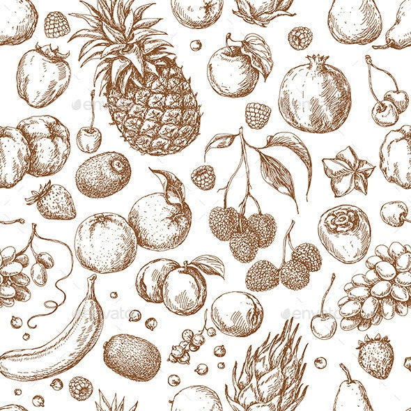 Seamless Pattern with  Different Fruits - Food Objects