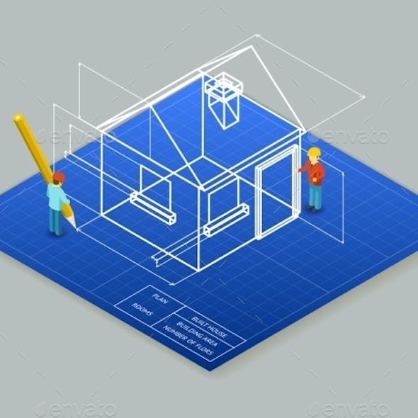 Architectural Design Blueprint Drawing 3d