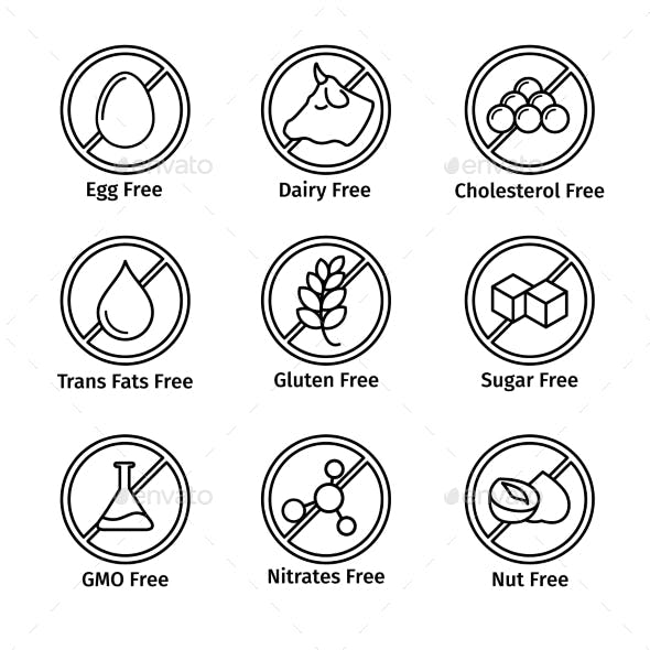 Food Diet And GMO Free Icons Set In Line Design