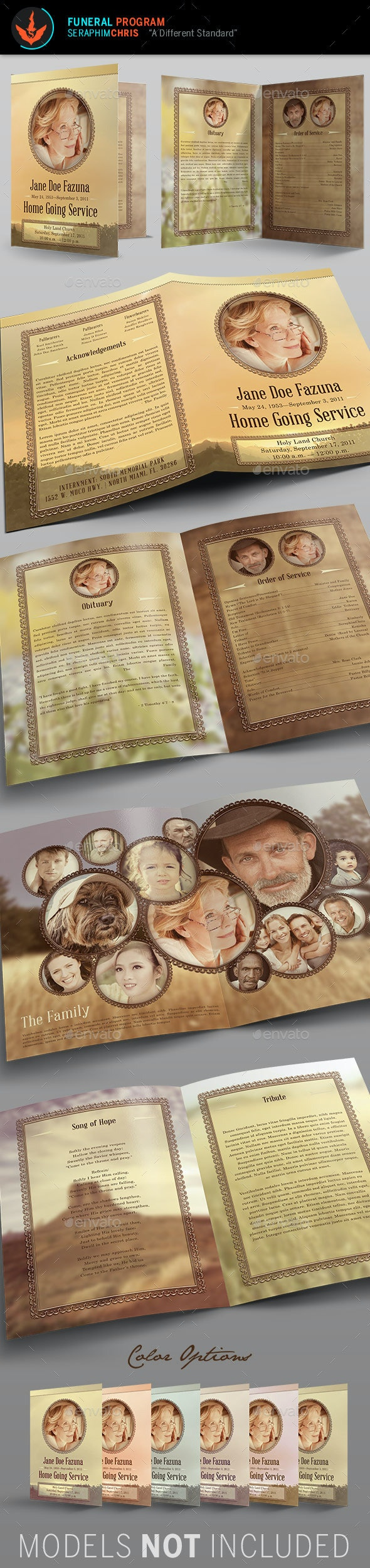Vintage Funeral Program Template 2 - Informational Brochures