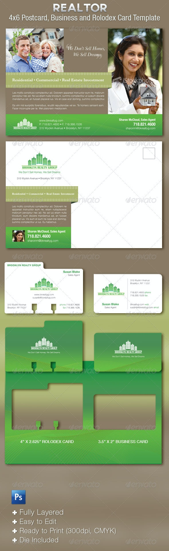 Real Estate Flyer Plus Business Cards Template - Miscellaneous Print Templates
