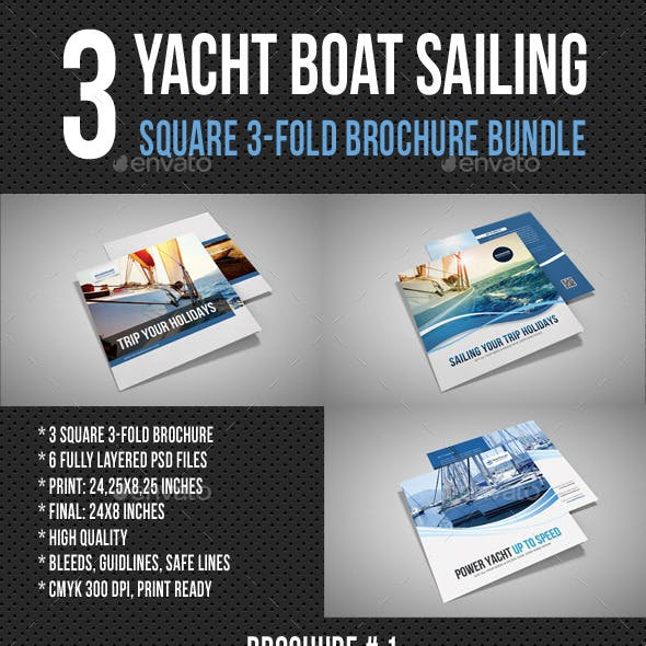 3 Yacht Boat Sailing Square 3-Fold Brochure Bundle