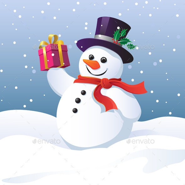 Snowman with a Gift Box - Christmas Seasons/Holidays