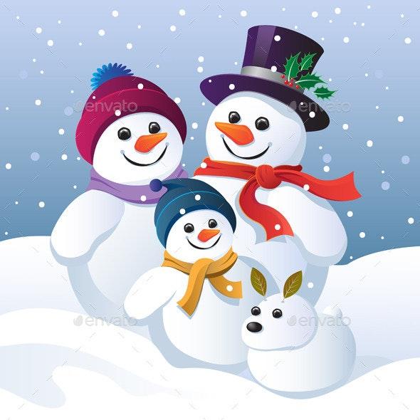 Snowman Family Group and a Snow Dog - Christmas Seasons/Holidays