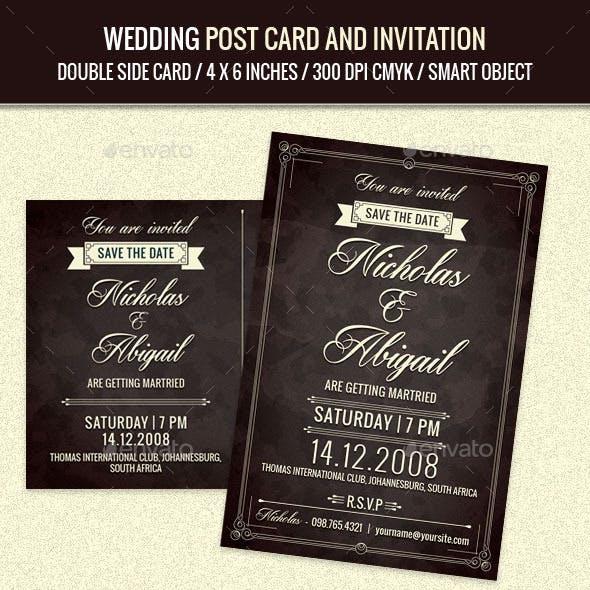 Wedding Invitation Post Card Template