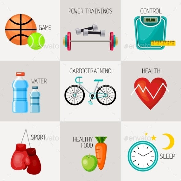 Healthy Lifestyle Concept Icons Set