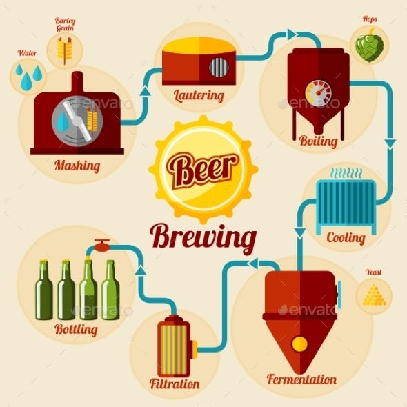 Beer Brewing Process Infographic. In Flat Style