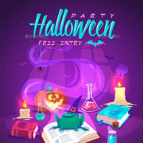 Magic Book With Frog. Halloween Cardposter. Vector