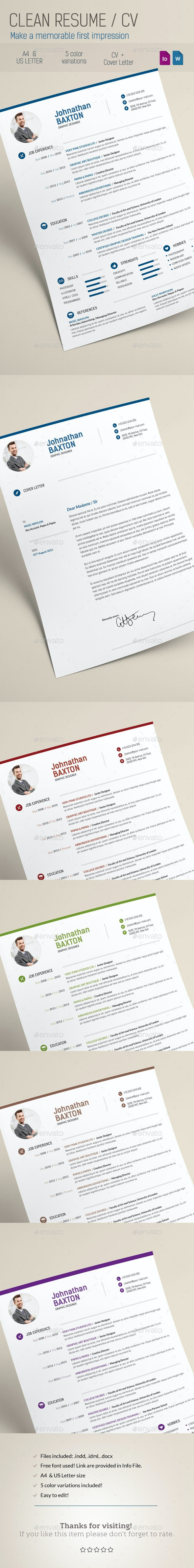Clean Resume CV - Resumes Stationery