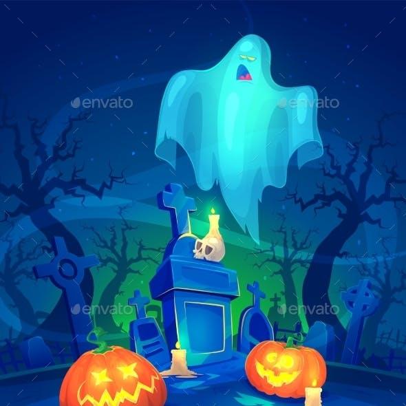 Spooky Graveyard. Halloween Cardposter. Vector