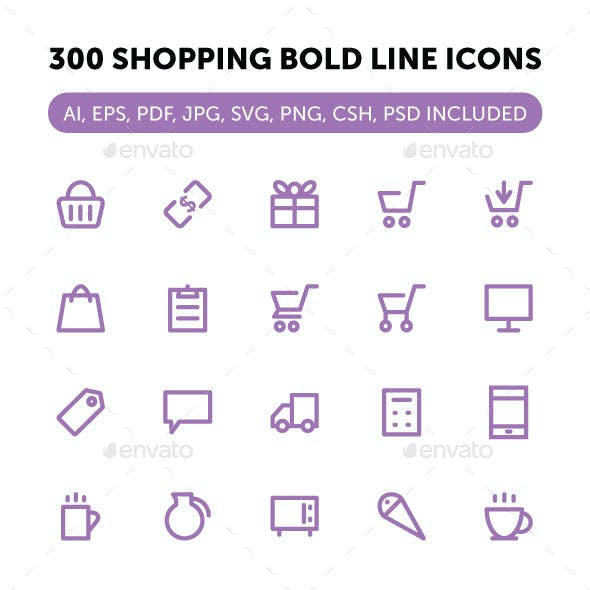 300 Shopping Bold Line Icons
