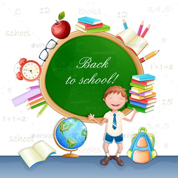 Back to School Illustration with Happy Pupil.