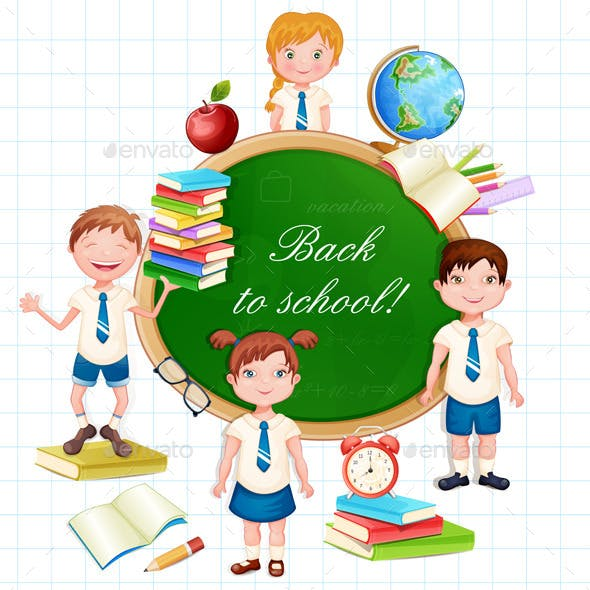 Back to School Illustration with Happy Pupils.