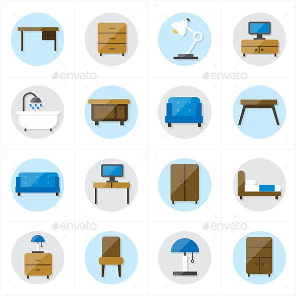 Flat Icons For Furniture Icons Vector Illustration