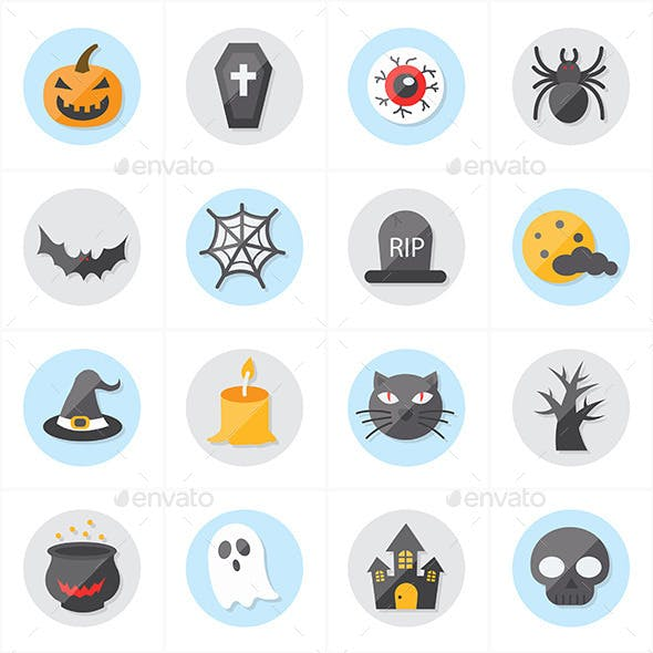 Flat Icons For Halloween Icons Vector Illustration