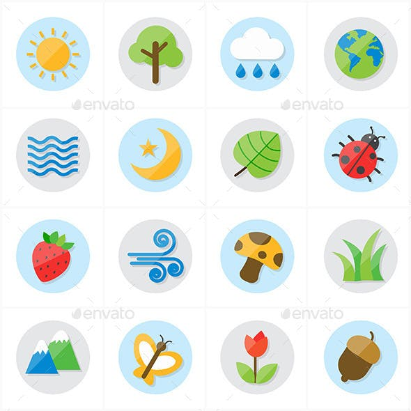 Flat Icons Nature and Tree Icons Vector Illustrati
