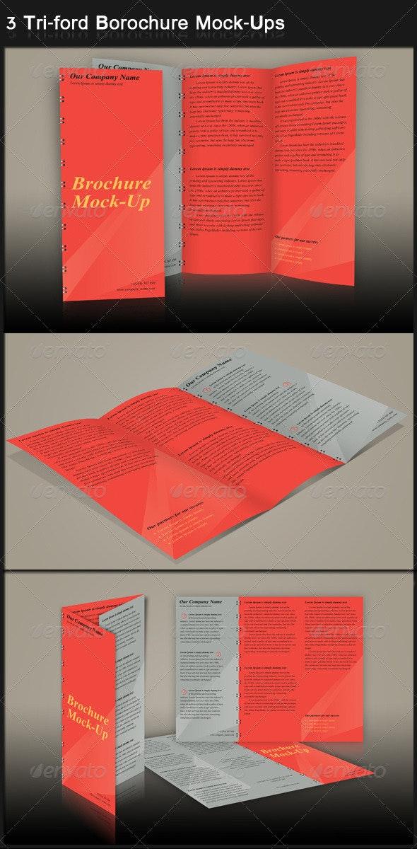 3 Tri-ford Borochure Mock-Ups  - Brochures Print