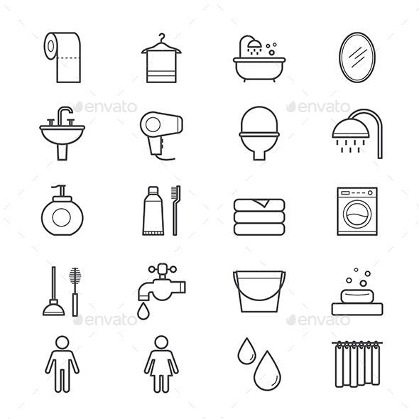 Bathroom and Toilet Icons Line