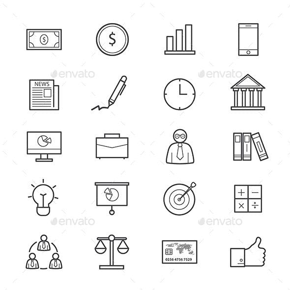 Business and Finance Icons Line