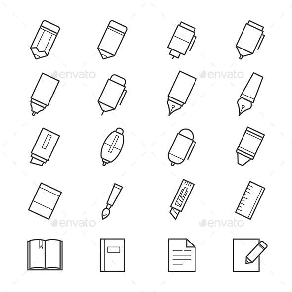 Drawing and Writing Painting Tools Icons