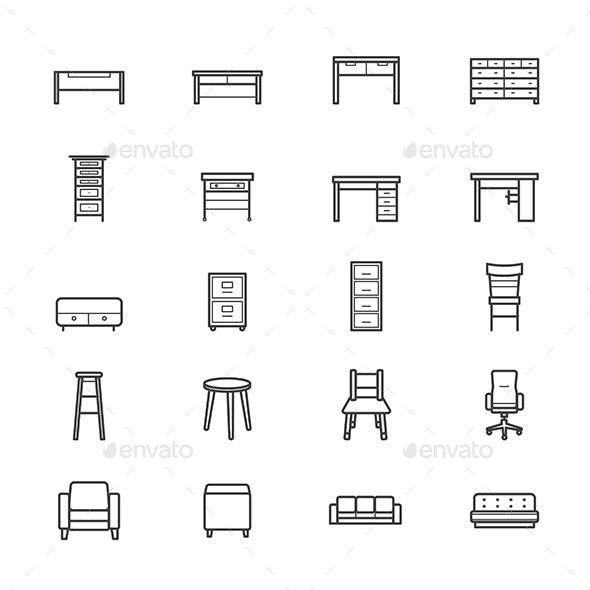 Furniture Office and Home Accessories Icons Line