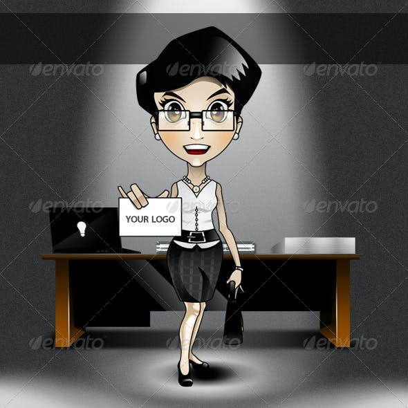 Animatable Business Woman Cartoon Character Kit