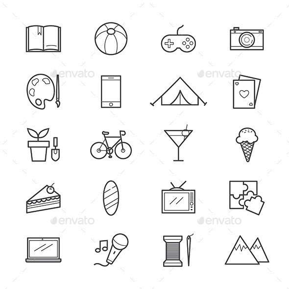 Hobbies And Activities Icons Line By Karawan Graphicriver
