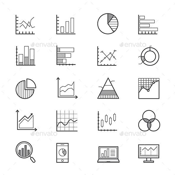 Business Chart and Graph Icons Line