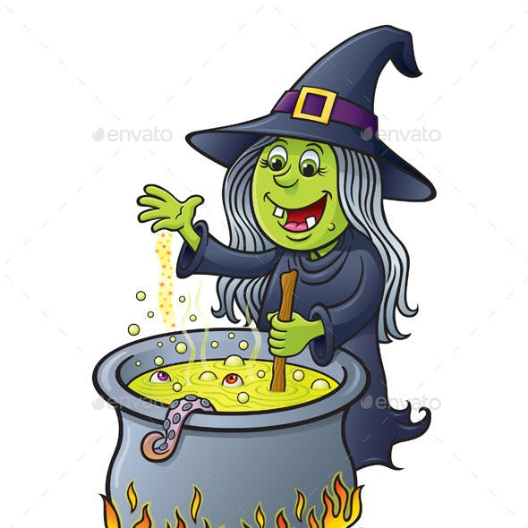 Witch Stirring a Hot Bubbling Cauldron