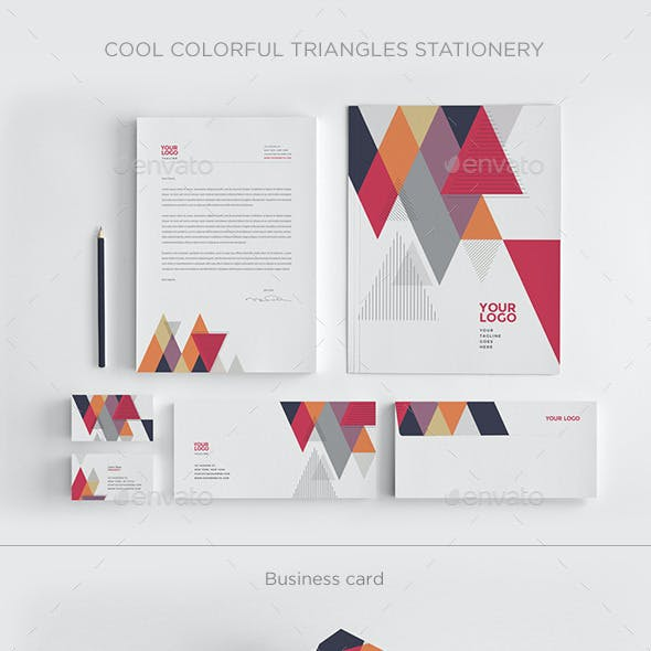 Cool Colorful Triangles Stationery