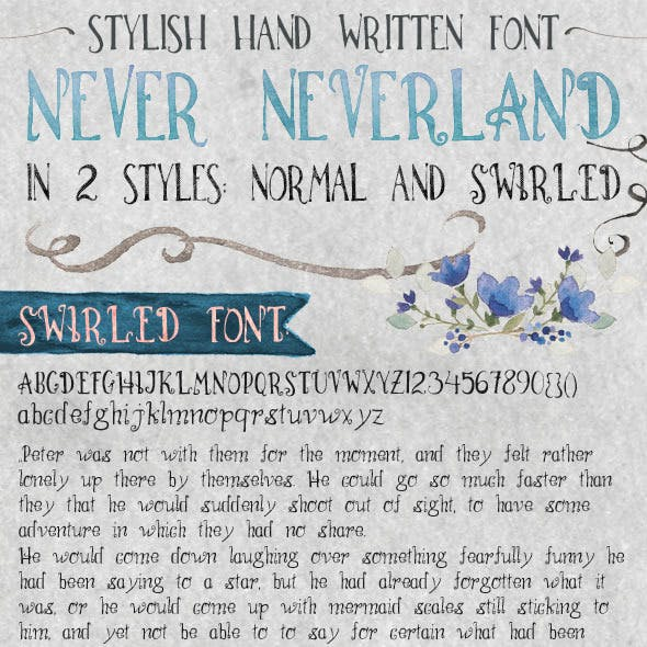 Hand Written Font Never Neverland