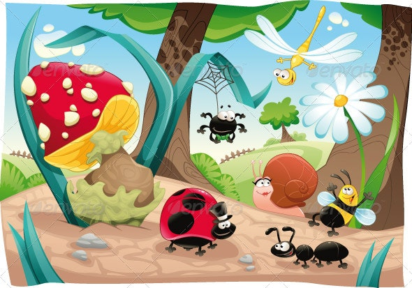 Insects family on the ground. - Animals Characters