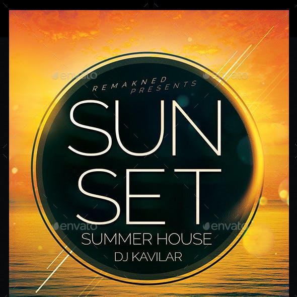 Sunset Summer House   Flyer Template PSD