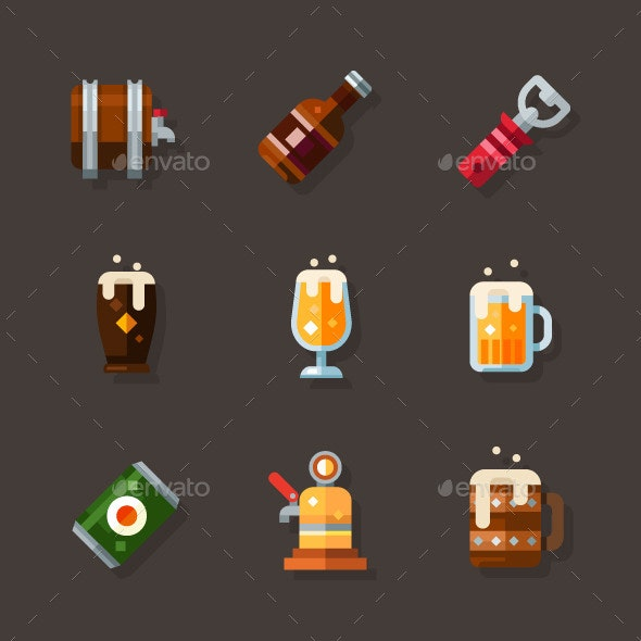 Beer Icon Set - Objects Vectors