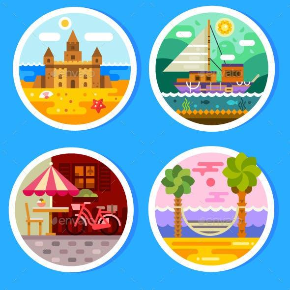 Summer Landscapes In Round Badges